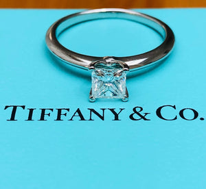 Tiffany & Co. 0.55ct E/VS1 Diamond Princess Cut Solitaire Engagement Ring PT950