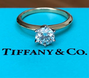 Tiffany & Co. 0.84ct H/VVS2 Diamond Round Solitaire Engagement Ring Cert/Val/Box
