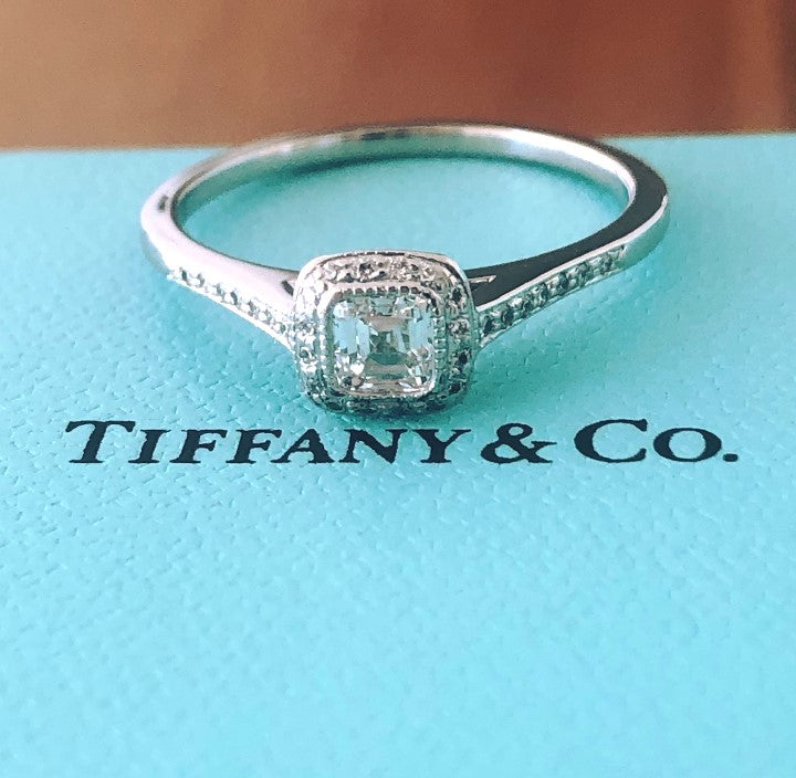 Tiffany & Co. 0.51tcw H/VVS1 Diamond and Platinum Legacy Engagement Ring Cert/Val/Receipt