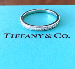 Tiffany & Co. 2mm 0.17tcw Diamond Platinum Band NEVER WORN RRP $4050 Receipt/Box