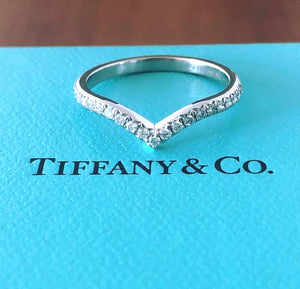 Tiffany & Co. 0.17tcw Diamond Soleste 'V' Half Eternity Ring Band Mint Condition Boxes/Receipt/Tiffany Valuation Letter