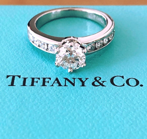 Tiffany & Co. 1.04tcw G/VS1 Diamond 6 Prong Ring w/ Accent Diamonds Cert/Val/Box