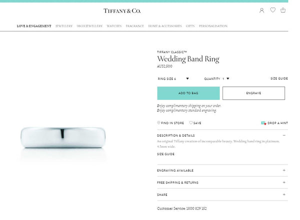 Tiffany & Co. 4.5mm Platinum Classic Mens Wedding Band Size 8 RRP $2500