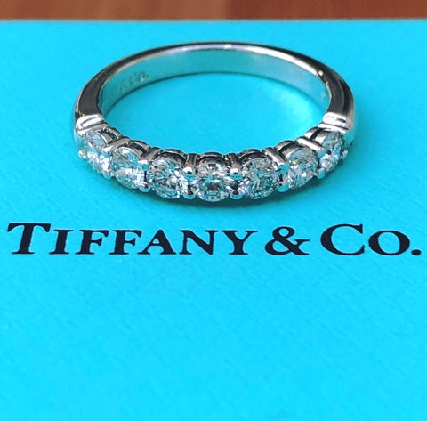 Tiffany & Co. 0.57tcw Diamond Embrace 3mm Half Eternity Band PT950 Val/Rcpt/Box