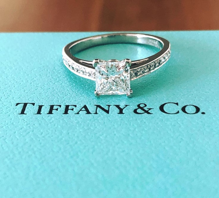 Tiffany & Co. 1.27tcw (1.11ct Centre) D/VS1 Princess Cut 'Grace' Engagement Ring Platinum