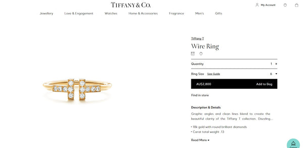 Tiffany & Co. 0.13tcw Diamond and 18ct Rose Gold 'T' Ring size 5.5
