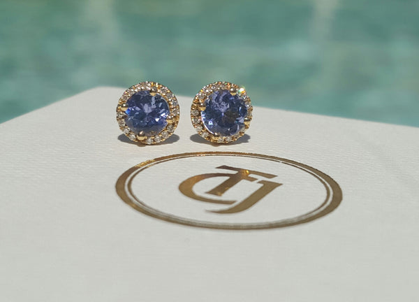 0.80tcw Tanzanite & 0.10tcw Diamond Stud 'Embrace' Earrings in 18k Yellow Gold by CTJ