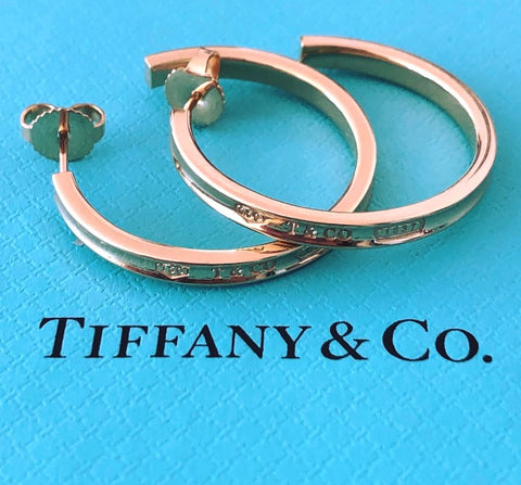 Tiffany & Co. Solid 18ct Yellow Gold 1837 Large Hoop Earrings 2.75cm in Diameter
