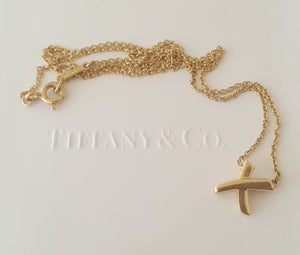 Tiffany & Co. Vintage 1990 Solid 18ct Yellow Gold Paloma Picasso X Necklace 16""