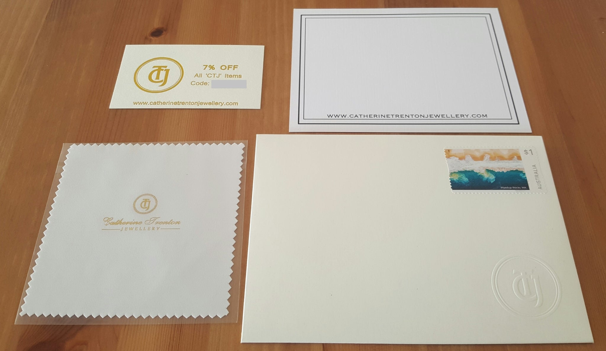 Jewellery Polishing Cloth and Discount Card for all 'CTJ' Pieces