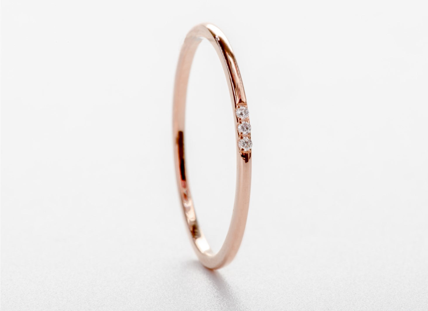 Solid 18ct Rose Gold and 3 Diamond Minimalist Wedding Anniversary Engagement Dress Band Ring Size 5.5 by CTJ