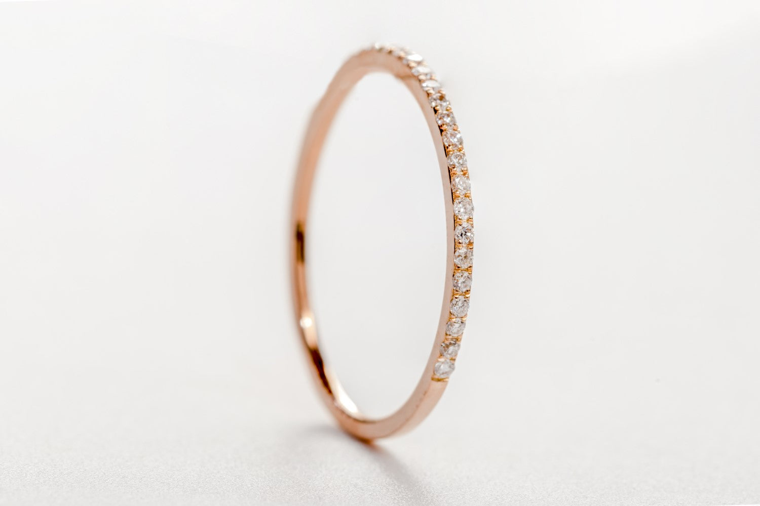 0.14tcw Diamond and 18ct Rose Gold Petite 1mm Half Eternity Band Ring US 5.5