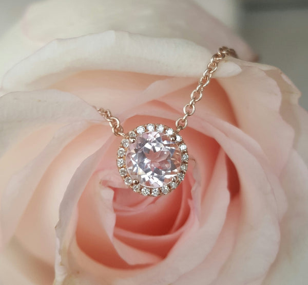 0.90ct Morganite and 0.06tcw Diamond Pendant Necklace 18ct 18k Rose Gold by CTJ