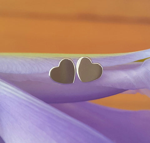 18ct 18k Solid White Gold 'Forever' Heart Stud Earrings - Original Design by CTJ