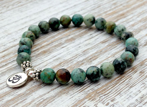 Genuine African Turquoise Bracelet with Om Bracelet for men or women!