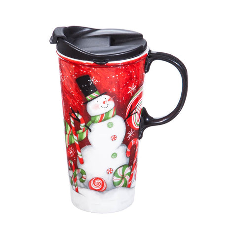 Ceramic Travel Cup, 17 oz. w/ box, Sweet Snowman CLEARANCE