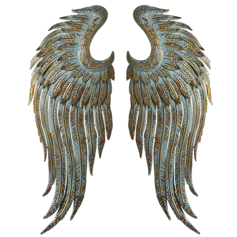 Gold Patina Angel Wing Wall Decor