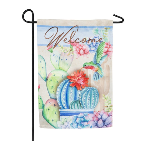 Succulents Welcome Garden Suede Flag