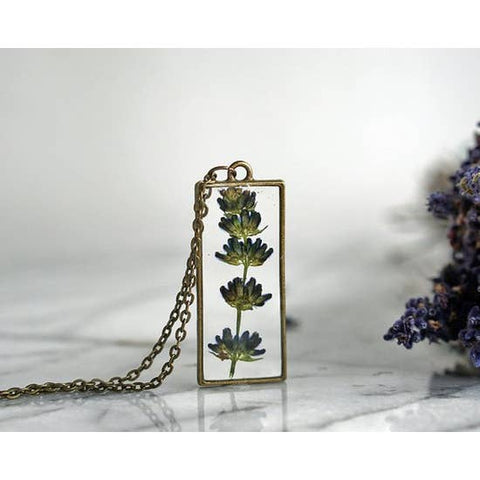 Real Lavender Pendant Necklace