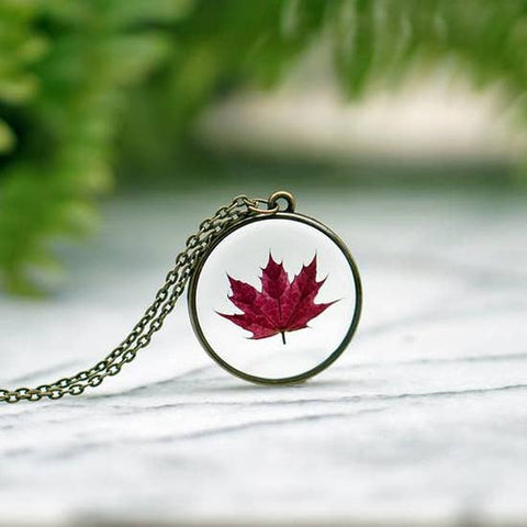 Real Red Maple Leaf Necklace
