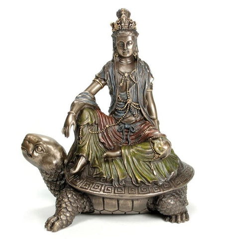 Water & Moon Quan Yin on Tortoise Statue Sculpture