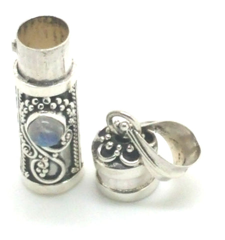 Sterling Silver Cylinder Prayer Box Pendant with Gemstone