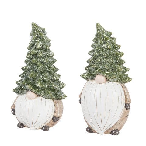 "Ceramic Evergreen Gnome Garden Statuary 11.5""H"