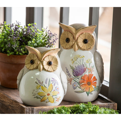 Ceramic Owl Garden Statuary, 2  sizes