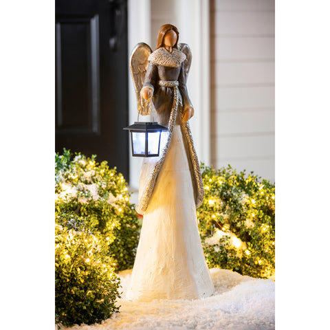 "Winter Angel with Solar Lantern Garden Statue 29.5""H"