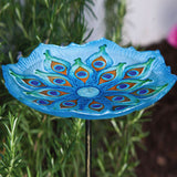 Peacock Glass Birdbath with Metal Stake - Cast a Stone