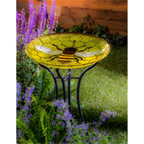 "18"" Glass Bird Bath, Honeycomb Bee Bowl"