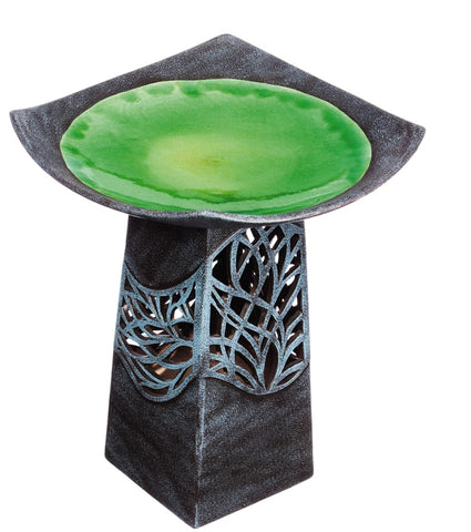 Intricate LED Hand Glazed Ceramic Birdbath