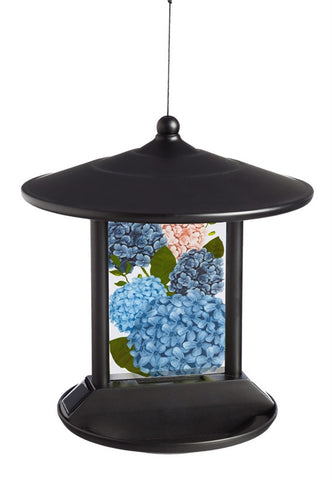 Hydrangea in Bloom Solar Bird Feeder