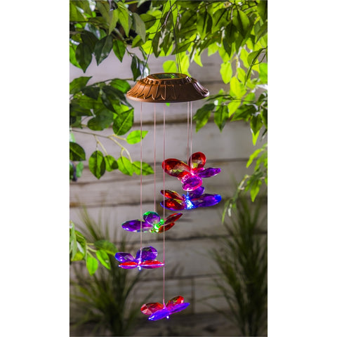 Color Changing Faceted Butterflies, Solar Mobile