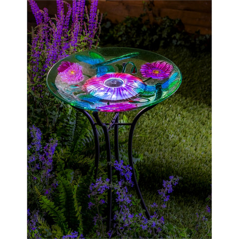 Solar Glass Bird Bath, Dragonfly 18""