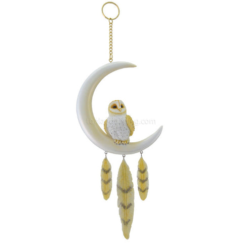 Barn Owl on Moon Dreamcatcher - Cast a Stone
