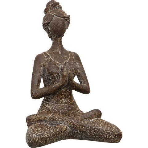 Sitting Yoga Lady Statue in Antique