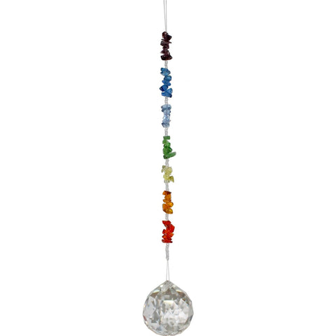 Hanging multi-faceted 40mm Crystal Sphere window suncatcher - Cast a Stone