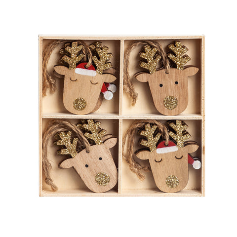 Wooden Holiday Deer Ornament in Wooden Tray 8 pcs