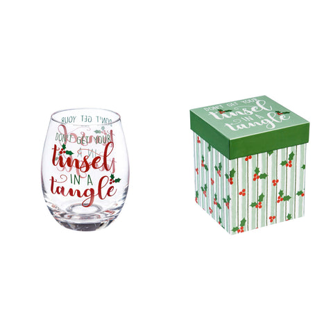 """Don't Get Your Tinsel In A Tangle"" Stemless Wine Glass w/ Box"