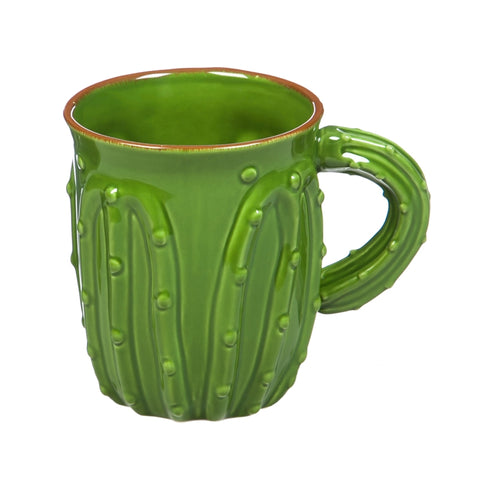 Ceramic Cactus Cup, 18 OZ, Green