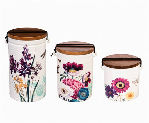 Ceramic Canisters, Set of 3, Vivid Bouquet