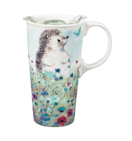 Ceramic Travel Cup, 17 OZ. Hedgehog in the Meadow w/ Box