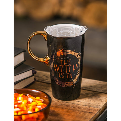 The Witch is In - Ceramic Travel Cup, 17 OZ. w/box and Tritan Lid