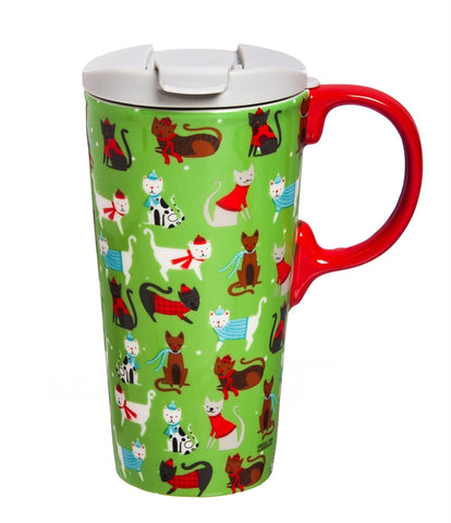 Winter Cheer Cats Ceramic Travel Mug CLEARANCE