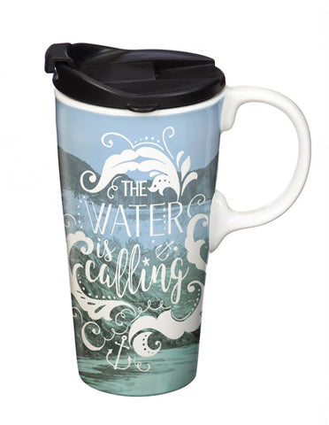 Ceramic Travel Cup, 17 oz. w/Box, Water - Cast a Stone