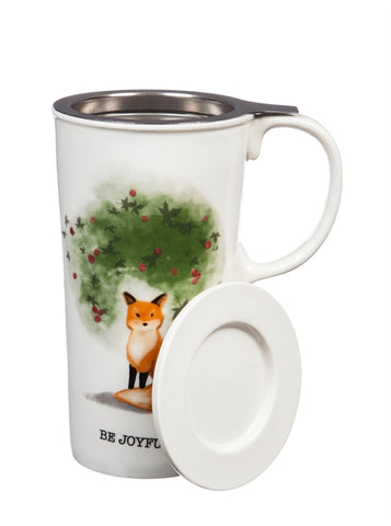 Winter Fox Ceramic Travel Cup w/ Infuser & Lid
