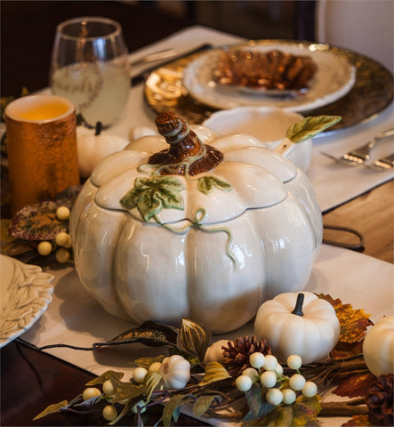 "Ceramic 10"" Tureen with Ladle, Elegant Harvest white Pumpkin"