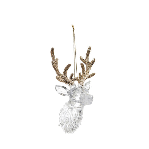 Stag Head Clear Ornament