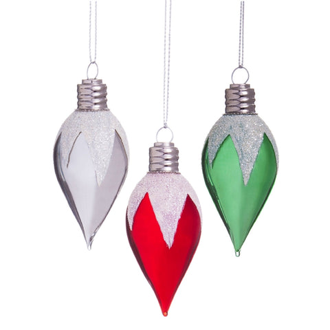 Christmas Light Glass Ornament, 3 ASST CLEARANCE